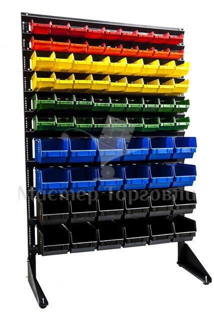 Стойка-стеллаж напольная с пластиковыми ящиками