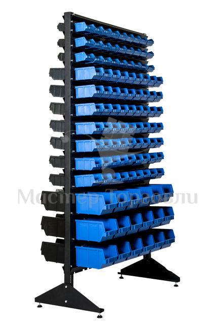 Стойка-стеллаж с пластиковыми ящиками двухсторонняя