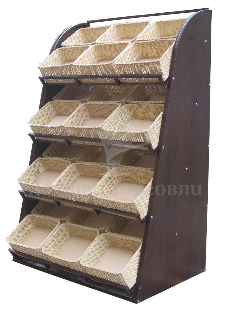 Стеллаж хлебный с плетеными корзинами